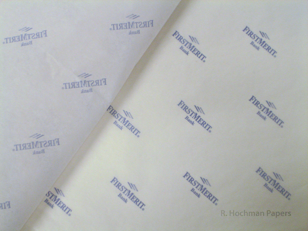 White Tissue Paper Branded With Blue